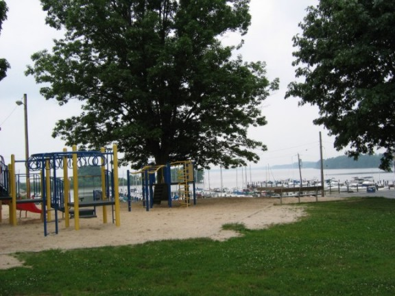 playground Tydings Park overlooking the Chesapeake Bay in Havre de Grace, Maryland